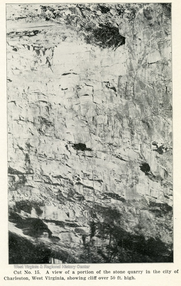 View of a portion of the stone quarry in the city of Charleston, W. Va., showing cliff of over 50 ft. high. From the Report of the W. Va. State Board of Agriculture for the Quarter Ending Sept. 30, 1908.