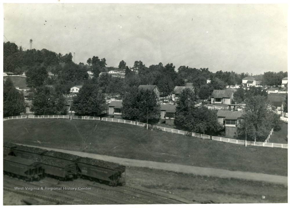 View of houses in the town of Sprague, W. Va.  'Shows influence of yard and garden contests.'