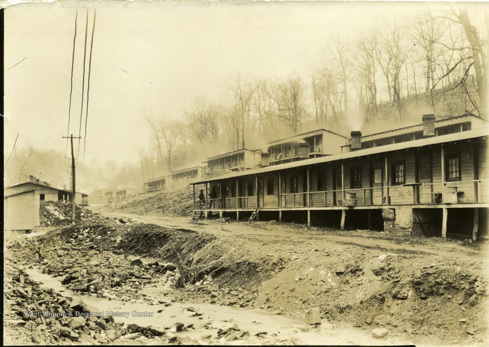 'Cassville Continental beyond the underpass.' Possibly miners homes before they were moved to Arthurdale.