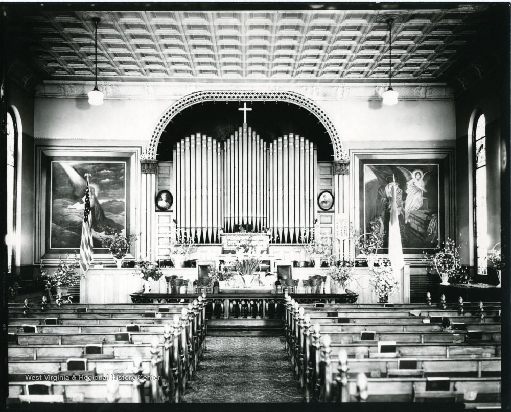 The interior of Andrew's Methodist Episcopal Church in Grafton, West Virginia.