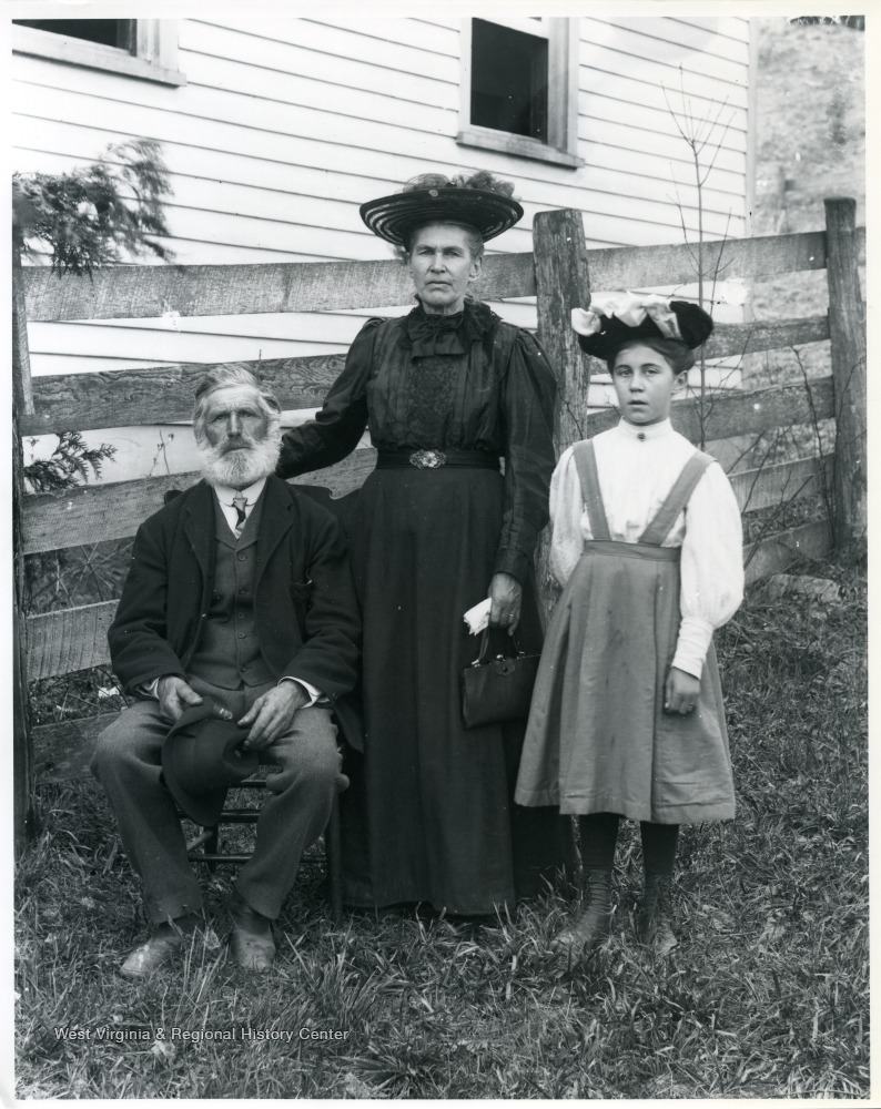 'Helvetia bei der church.' Reverend Christian H. Schoepfle, minister of the Helvetia Church (1906-1908), the woman is likely his wife, Mary and young girl is possible their granddaughter.