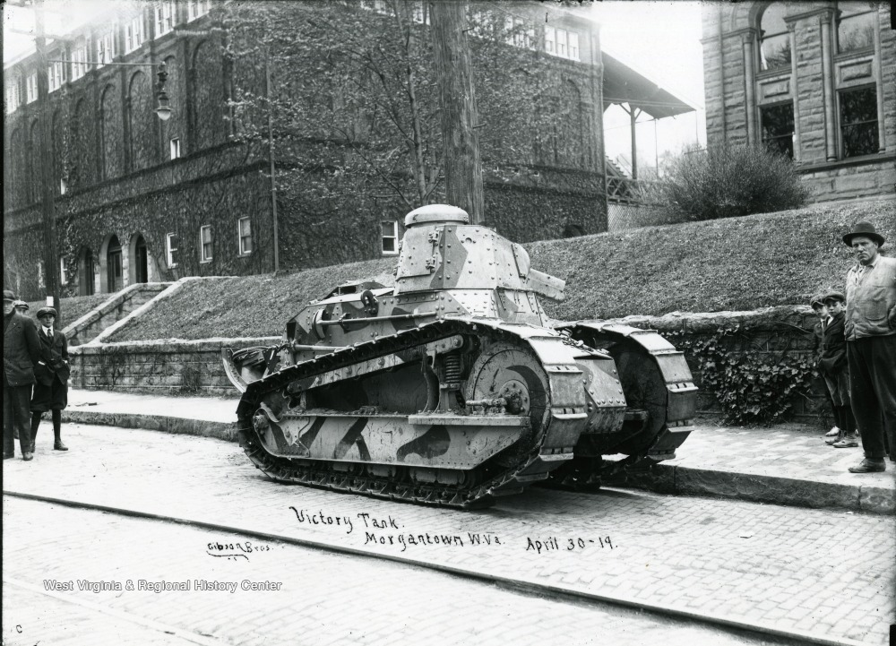 The Victory Tank is parked in front of buildings in Morgantown, West Virginia.