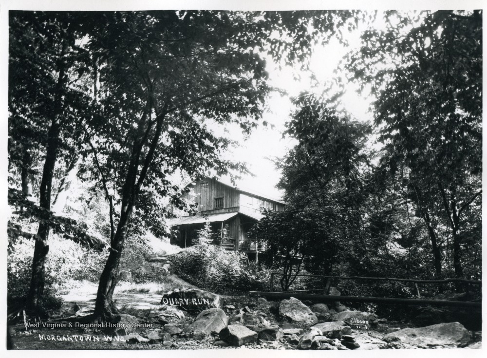 View of a house on Quarry Run, Cheat River, in Morgantown, West Virginia.