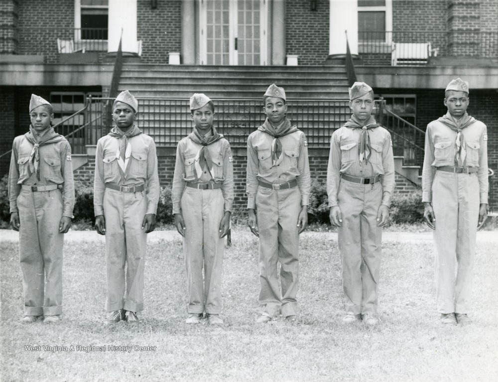 Group portrait of six African American boy scouts in uniform at the West Virginia Industrial School for Colored Boys.