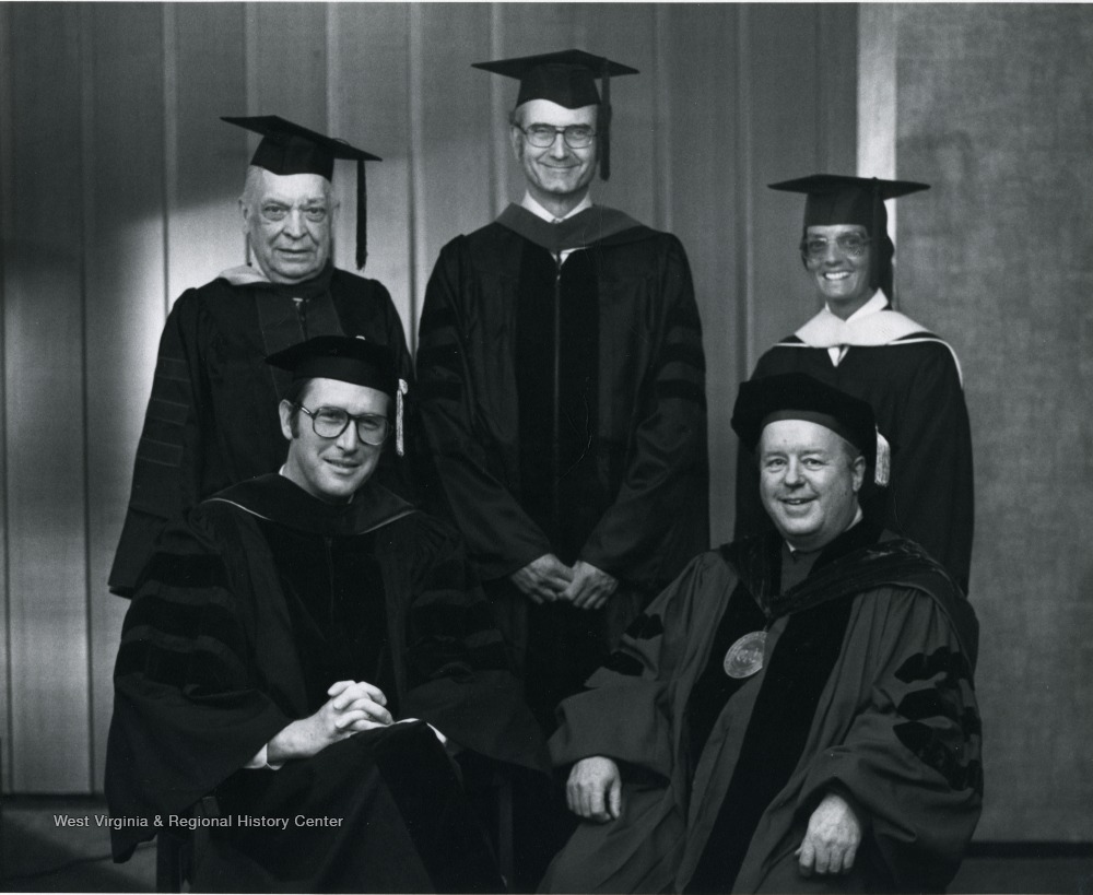 Five receive Vandalia Award on May 15, 1977, standing from left to right: William J. Maier, Jr., John D. Chambers, M.D. and Becky Singleton (received for deceased father); seated from left to right John D. Rockefeller IV, James G. Harlow.