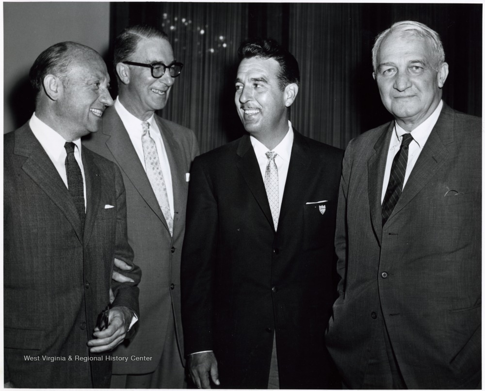 "'A photograph of Senator Revercomb (right) standing with others, including Estes Kefauver (second from left) and ""Tennessee"" Ernie Ford (second from right).'"