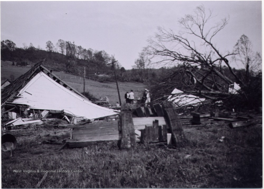 People at the site a church used to stand, aftermath of tornado of 1948, Mount Clare, W. Va.