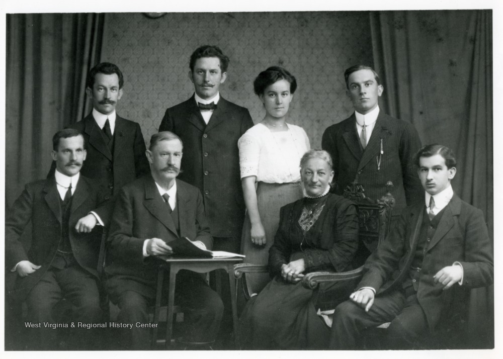 Back row: Alwin, Robert, Hedwig, Herman. Front row: Paul, Robert Henrich Schneider-Zwicker, Grandmother Pauline Zwicker, Max. Original returned to donor.