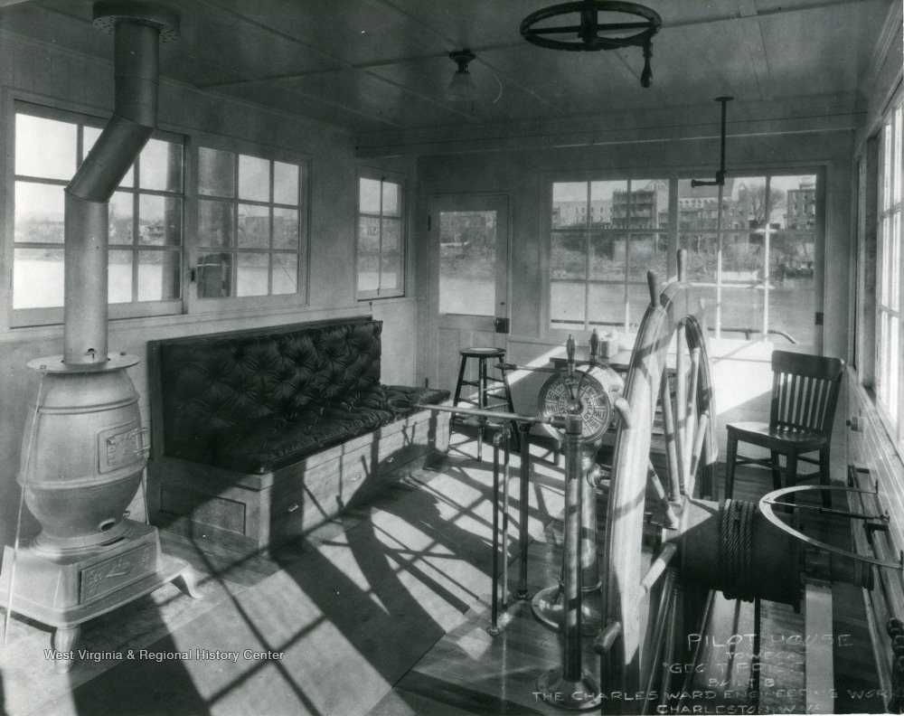 "Pilot house on the vessel, ""Geo T. Price"" built by The Charles Ward Engineering Works in Charleston, West Virginia."