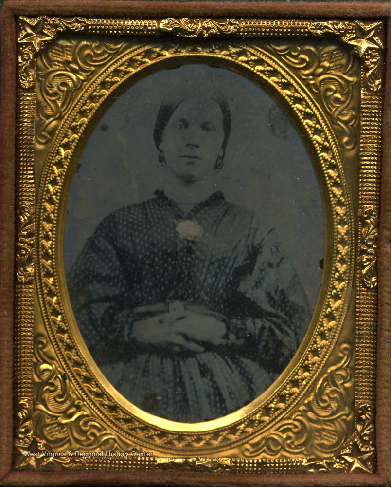 Ambrotype of Mary McNab wearing the fashion and hair style of the 1860's.