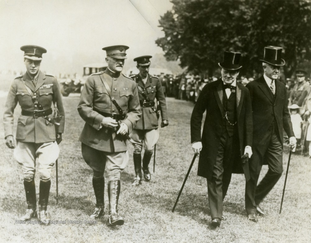 Left to right:n Great Britain's Prince Edward; U. S. Army General John J. Pershing; Unidentified; Winston Churchill; and John W. Davis.  Davis was from Clarksburg, W. Va. and ran for United States President in 1924.