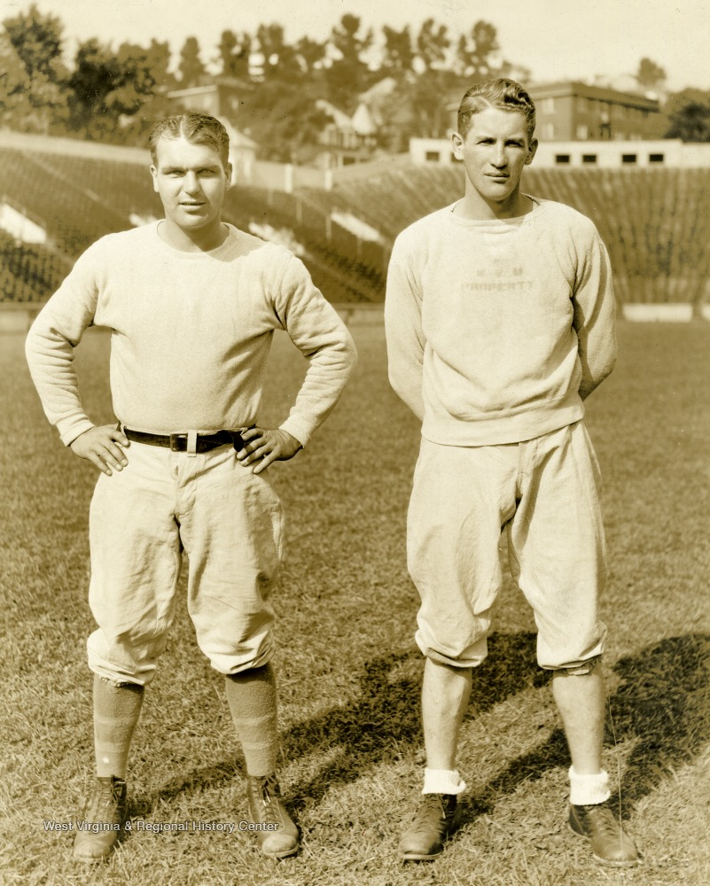 "Carl Brumbaugh, left, and Marshall ""Sleepy"" Glenn, right. West Virginia University football and basketball coaches. Print number 202a."