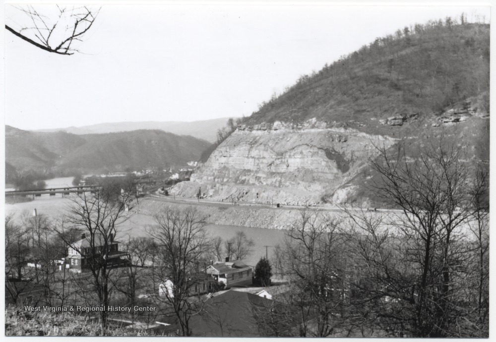 View overlooking the Bluestone River where a dam is to be constructed.