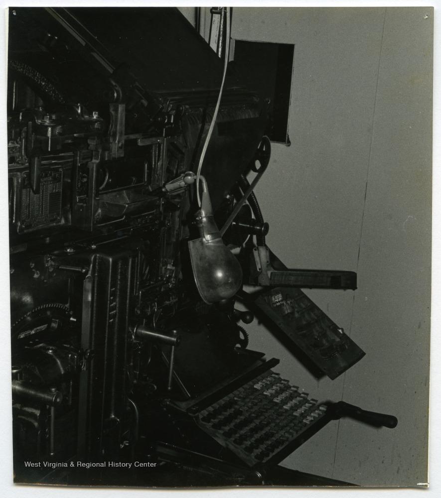 Linotype at the Wirt County Journal, Elizabeth, W  Va