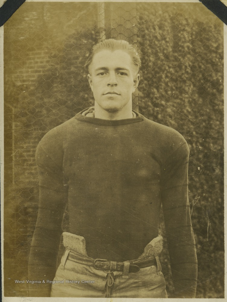 "A West Virginia University football player identified as ""Brooks"" is pictured in his practice gear."