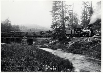 "Twin Bridges, Cheat River; Third from left Carl Bradley - Engineer; P.E. Percy/Lima Locomotive Works; Lima ""Shay"" Shop No. 754 (1903; W.Va. Spruce Lumber Co. and/ or Greenbrier and Elk River #3; TKA 65 ton"