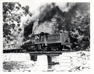 Shay No. 4 crossing a railroad bridge. Cass Scenic R.R. Cass, WV; Richard Carter, N. Whitehall Rd, Norristown, R.D. 3, P.A.