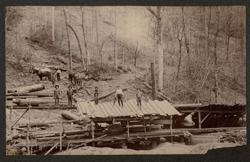 Men and horses at a lumber mill.