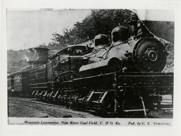 Shay No. 6 engine on tracks.  Published by C.E. Armstrong.