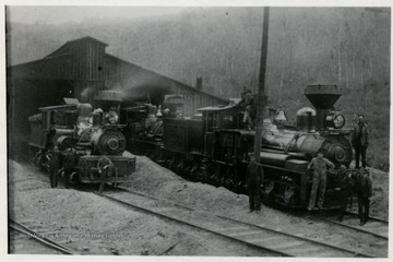 Three train engines and crew. 1910 postcards Joe Crowl, Geo. Cramer, Bob Dean, Cal Bridly? (Bladley), Freddie Linan.