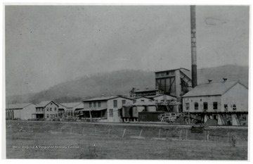 Extract plant with large smoke stack.