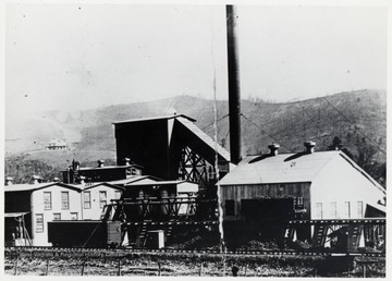 Boiler Room, chipper shed, pan room and extract plant.  Looking east towards structures facing the Chesapeake and Ohio Railroad.