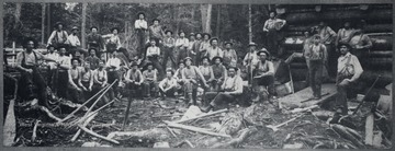 Group portrait of logging crew.