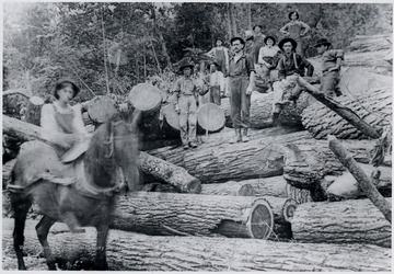 Loggers standing on log pile.  Mill located at Glenray - 1 mile west of Alderson, W.Va.