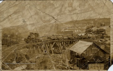 Postcard of train on Dobbin Line pulling log cars, Dobbin W.Va.