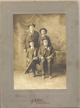 Group portrait of four Civil War veterans, members of the Parkersburg Grand Army of the Republic Group.