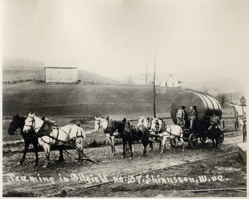 Team of Six Horses Hauling an Oil Storage Tank to Oil Field No. 27