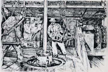 Drawing of three men working with oil equipment.