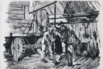 Sketch of two men holding a rope that is part of oil machinery.