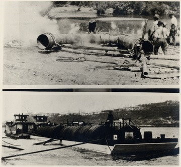 Top photograph, men making bend in pipeline.  Bottom photograph, 'The Hope Navy' transporting oil tanks.