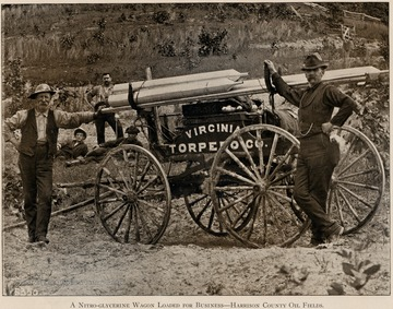 Men standing in front of a Virginia Torpedo Co. wagon carrying nitro-glycerin. From Grant's Photo.  Record of West Virginia.