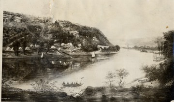 Copy of painting by A.M. Doddridge, 1863- Army camp just below Chesapeake and Ohio Depot site near mouth of Ferry Branch on the Kanawha river.  Fort Scammon Hill in the distance.  President Hayes and McKinley were stationed in camp.