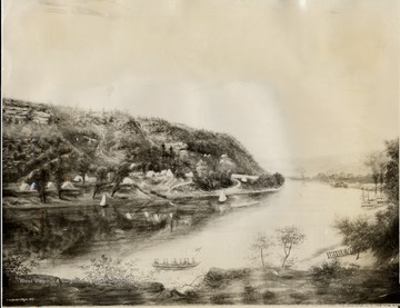 Copy of painting by A.M. Doddridge, 1863- Army camp just below C. and O. depot site near mouth of Ferry Branch.  Fort Scammon hill in the distance.