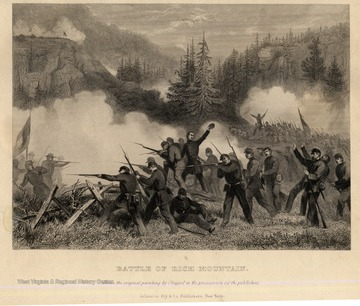 Battle of Rich Mountain scene. Black and White Version. From the original painting by Chappel in the possession of the publishers. Johnson Fry and Co. Publishers, New York.