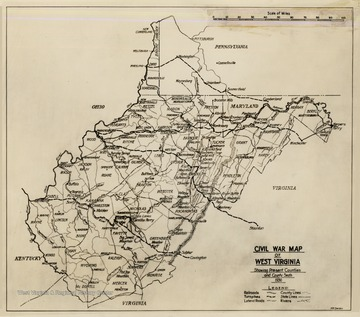 Civil War Map of West Virginia. Showing present counties and county seats 1936. Includes railroads, turnpikes, lateral roads, county lines, states lines, and rivers.