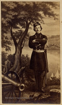 An illustrated portrait of Elmer Ellsworth, Colonel of a New York Zouave Unit in the Union Army. A favorite friend of the Lincoln family, Ellsworth was killed by a Southern sympathizer, May, 1861 in Alexandria, Virginia.