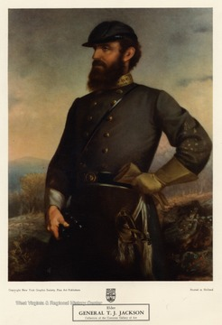 Painted portrait of General T.J. Jackson.  Copyright New York Graphic Society, Fine Art Publishers.  Printed in Holland.