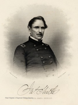 Engraving of Brig. Gen. James Shields from photo by Brady.
