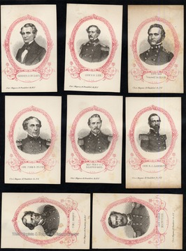 "Starting in the left corner:  Jefferson Davis, General R.E. Lee, Brig. Gen ""Stonewall"" Jackson, Gen. John B. Floyd, Maj. Gen. P.G.T. Beauregard, Gen. R.S. Garnett, Com. Maury, Gen. John B. Magruder.  All engravings read at the bottom Cha. and Manus, 12 Frankfort St. N.Y."