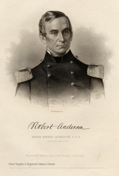 Engraving of Major Robert Anderson, U.S.A.  (Now Brig. Gen. U.S.A.)  Engraved for Rebellion Record from Anthonys Photograph.  Entered according to act of Congress A.D.1861, by G.P. Putnam, in the clerks office of the district court of the southern district of N.Y.