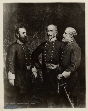 Copy of a painting of (L to R) General Thomas J. (Stonewall) Jackson C.S.A., General Joseph E. Johnston C.S.A., General Robert E. Lee C.S.A.