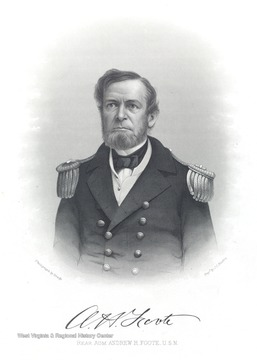 An engraving of Rear Admiral Andrew H. Foote, U.S.N. by J.C. Buttre. The original photograph was taken by Matthew Brady.