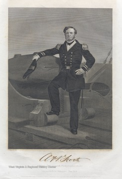 An engraving of Rear Admiral Andrew H. Foote, U.S.N. by Alonso Chappel. The engraving is a likeness from a recent photograph from life.