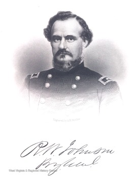 Engraved portrait of R.W. Johnson.