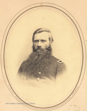 Portrait of Major General Thomas M. Harris of the 10th regiment, W. Va. Inf. Vols.  Born Harrisville, Va. (now W. Va) June 17, 1813.  During the period of the Civil War, he was breveted, Adjutant General Brigadier General and at last in 1866 Major General.