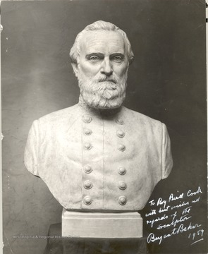 "Plaster model of Thomas Jonathan ""Stonewall"" Jackson bust which was cast in bronze for the State Capital Building in Charleston, West Virginia and unveiled in Sept 1959. The sculptor of the bust, Bryant Baker, 222 West 50th Street, New York City autographed this photo to Roy Bird Cook in 1959."